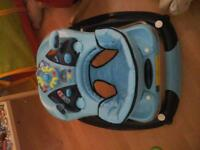 Nearly NEW, blue baby walker and nearly NEW, blue baby high chair. Excellent condition. ONLY £50
