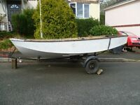 12 foot wooden river boat with trailer