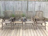 4 x Wooden Reclining Garden Chairs. Fold for storage