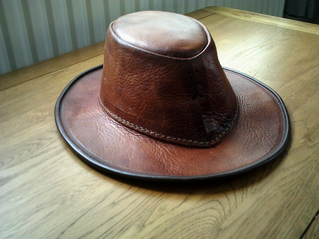 A genuine hand stitched Moroccan Real Leather Hat
