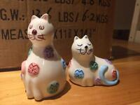 Kitty and Pooch salt & pepper pots , cats