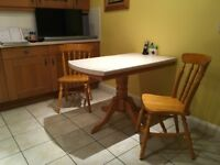 SOLID PINE KITCHEN / DINING TABLE BASE and TWO CHAIRS