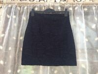 Women's H&M navy floral lace skirt, size 8