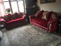 Sofa set 3+2 seater wine beige colour +4 cushions comfortable sofas used v,good condition £175
