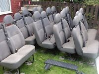 loads of double seats for mini bus double strap and head rest and bottom fixings ready to go