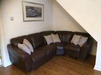 Brown Leather Corner Sofa + 1 Single Brown Leather seat - £200
