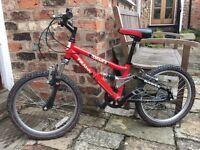 "Child's Bike. Dawes Pirana. Full suspension. 20"" Wheels. 6 Gears. Age 6-9"