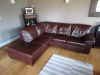 5 seater chocolate brown leather corner sofa for sale