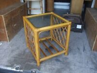 GLASS TOPPED WICKER COFFEE TABLE CONSERVATORY
