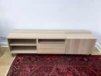 IKEA BESTA TV STAND CABINET BENCH LIGHT OAK COLOUR with chrome adjustable legs (VGC)
