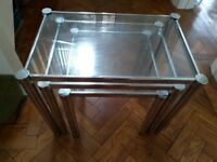 Glass and chrome nest of tables coffee tables