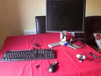 Dell computer monitor, keyboard, mouse and webcams