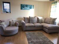 Left Corner Fabric Sofa and Swirl Chair