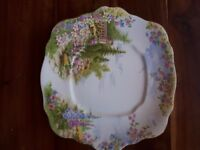 ROYAL ALBERT CROWN CHINA KENTISH ROCKERY CAKE/BREAD PLATE. 25X24CMS.