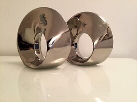 Pair of Chrome Swirl-shaped, Ornaments