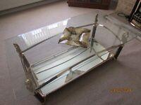 coffee table with mirror shelf glass wood