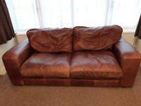 Free Delivery - Hastings Real Leather 3 seater Sofa