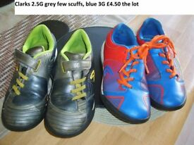 clarks trainers grey 2.5G (few scuffs) blue 3G good condition collection from didcot