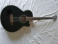 Acoustic Electric Ibanez black bass guitar model AEB10
