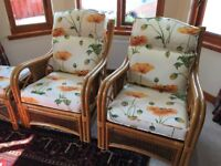 FOUR CONSERVATORY CHAIRS + TWO FOOTSTOOLS