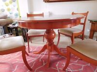 Extending Dining & 4 Chairs, Solid Wood, Cherry Colour. Good Condition