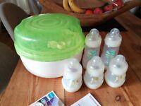 New, unused MAM Steriliser and 5 bottles - new and unused
