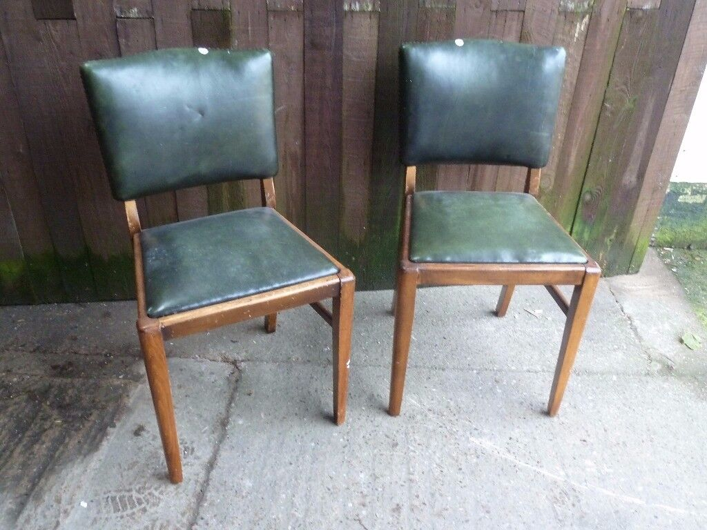 3 x Green Leather Dining Chair Delivery Available
