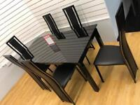 Black Glass Dining Table & 6 Chair set