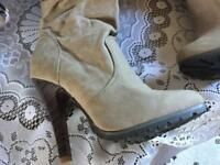 Select ladies long high heels boots. Beige suede Sz: 6/39 new £5