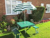 Portable Folding Picnic Table with Attached Chairs and Parasol, Ideal for Children's Party, Camping