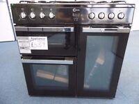 EX-DISPLAY FLAVEL BLACK 90 CM WIDE DUAL FUEL RANGE COOKER REF: 31270