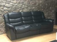 Matching fully recliner black leather sofas 2 and 3 seaters