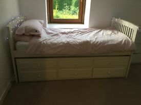 Single bed with extra bed underneath plus drawers