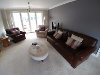 Multi York three piece suite leather/fabric large sofa good condition