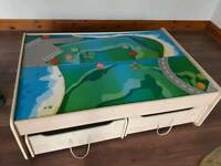 Wooden train play table with storage