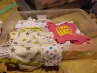 Baby clothes, large assorted box - 0-3 months old, variety, good condition