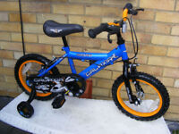 """NICE BOYS 14"""" WHEEL BIKE WITH FITTED STABILISERS HARDLY USED AGE 4+"""