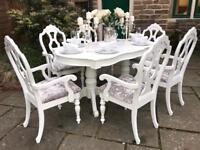 Dining Table & 6 Carver Chairs ~ Extends - SILVER CRUSHED VELVET