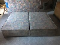 Divan base fold-up double bed, 4'6'' with mattress, without fire resistant label, good condition