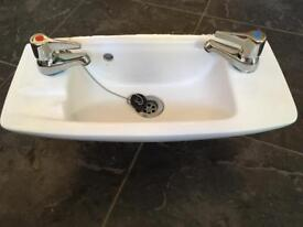 Cloakroom toilet small white sink basin & taps