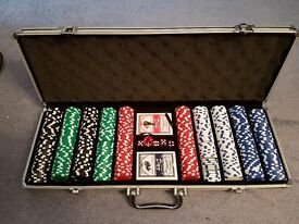 Poker Set (500 x 11.5g heavy resin chips) with cards, dice and case (paid £75)