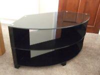"3 shelf Black glass TV table suitable for corners Length 38""; 96cms"