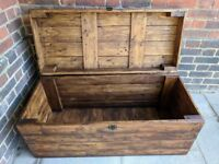 Wooden trunk bench 120cm/storage chest/coffee table. Rustic/handcrafted/reclaimed. LOCAL DELIVERY.