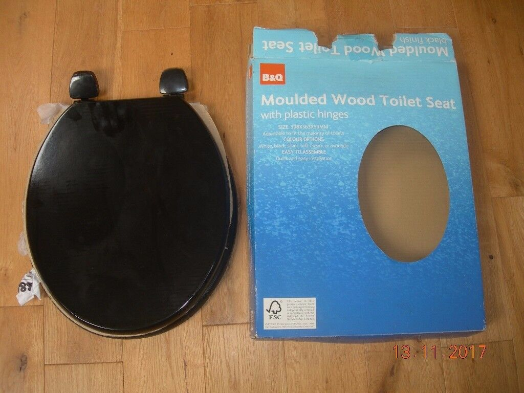 TOILET SEAT BLACK WOOD B&Q UNUSED IN BOX