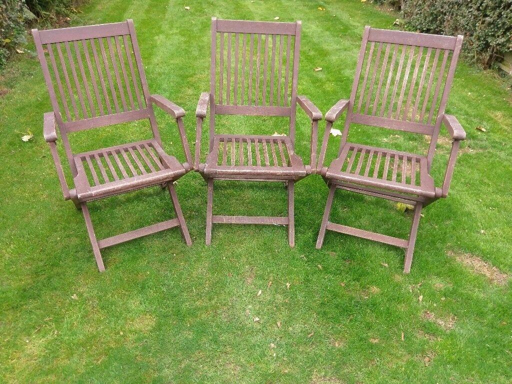 3 x wooden garden chairs
