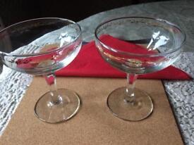 2 Vintage Champagne glasses/saucers