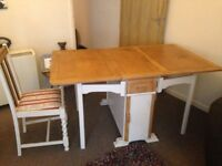 1940's Bi-Folding Shabby Chic Table and 2 Chairs