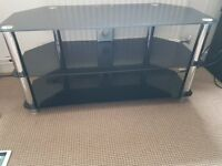 LARGE Black glass tv stand - Amazing condition - £50 ONO