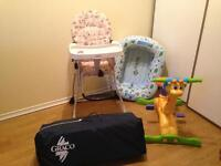 Baby high chair, playpen, inflatable bath, ride on toy