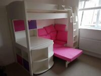 Stompa Casa 4 High Sleeper Bed, with a sofa bed and cube storage